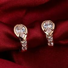 1.90Ct Pear Attractive Cut Moissanite Huggie Hoop Earrings 14K Rose Gold Finish