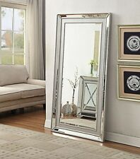 6ft x 3ft Silver Modern Mirror Wall Large 180 x 90cm Rectangle Leaner Champagne