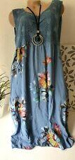 Damenkleid Italy Sommerkleid Strandkleid Ärmellos Blau Blumen Regina 48 50-52