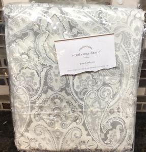 """Pottery Barn Mackenna Paisley Linen Cotton Rod Curtain 50'' x 108"""" Taupe"""