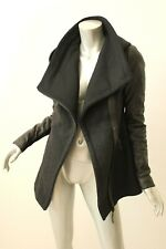 MACKAGE Vena Asymmetrical Zip Wool Blend Leather Sleeve Coat S $695