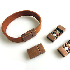 5Sets Antique Copper 10x2MM Magnetic Clasp For Use With 5mm 10mm Flat Leather
