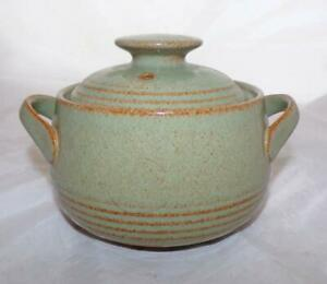 Denby Pottery Camelot Pattern Lidded Soup Bowl Early Ridged Design in Stoneware