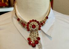 """ESTATE VINTAGE ROUND CUT RED/CLEAR RHINESTONE NECKLACE CHOKER 16"""""""