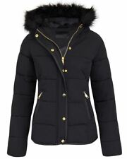 Womens Girls Quilted Padded Fur Hooded Zip Long Sleeve Coat Button Jacket Black 8