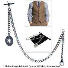 Link Chain Star Fob T-Bar Acs12 Albert Chain Stainless Steel Pocket Watch Curb