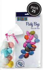 PME Quality Party Gift Sweet Treat Bags Sugarpaste Decoration Silver Ties 25pk