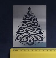 Stainless steel/stencil/Swirl Tree with Star/Pyrography/Emboss/Paste/Christmas