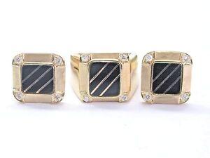 18Kt Onyx & Diamond Yellow Gold Ring & Cufflinks Jewelry Set .50Ct
