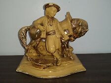 2624-Eichwald Yellow Ware Majolica Pottery-Horse-Rider-Tobacco-Pipe-Match Holder