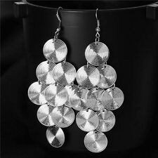 """layers of circles silver plated womens 4"""" hook dangle earrings five"""
