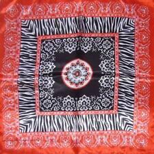 Red black animal print Neckerchief Shawl Head Bandanas Square Scarf Satin