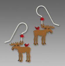 Sienna Sky MOOSE with CARDINAL EARRINGS Sterling Silver Earwires Dangle - Boxed