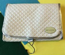 Quality Revlon Quilted White Folding Travel Vanity Cosmetic Make Up Bag