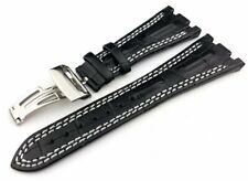 28mm Black/White Genuine Leather Strap fit Audemars Piguet Royal Oak Offshore