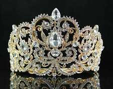 VICTORIAN RHINESTONE CRYSTAL TIARA HAIR COMBS BRIDAL PAGEANT PROM T1505G GOLD