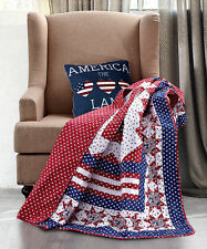 AMERICAN FLAG STAR THROW : RED WHITE BLUE COUNTRY CABIN PATRIOTIC BLANKET