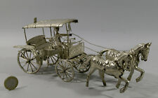 CARRIOLE EN METAL ARGENTE, fer blanc, 25 cm, complète, Inde, attelage,chevaux