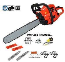 "Heavy Duty 58CC 12"" & 20"" Benzina Motosega Saw & Catena & COVER 2.2 KW Tool Kit"