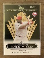 2008 Topps Moments & Milestones RYAN HOWARD 02/25 MLB BASEBALL CARD - PHILLIES