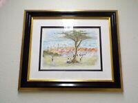 "Original HAND SIGNED Urbain HUCHET Lithograph ""View of St. Tropez "" FRAMED"
