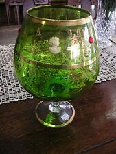 "Green Stemmed Glass Compote Gold Trim 10 3/8"" Tall - Excellent Condition"