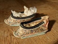 More details for antique chinese lotus shoes, silk, hand embroidered. good condition for age