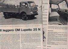 T14 Clipping-Ritaglio del 1970 Prova si strada Autocarro leggero OM Lupetto 25 N