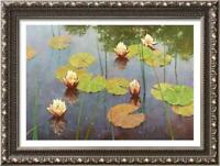 """Hand-painted Original Oil painting art Landscape Water lilies on Canvas 24""""x36"""""""