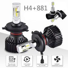 For Kia Rio5 2007-2011 4x H4 9003 881 LED Headlight Fog Light Combo White Bulbs