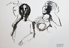 1991 - ABSTRACT PORTRAIT INK PAINTING SIGNED