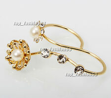 20pcs wholesale lot Resin Pearl Rhinestone gold fashion Double Two Finger Rings