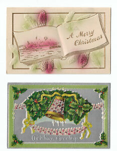 Embossed Gilt Christmas Postcards Antique 1910s Holly Bell Pinecones