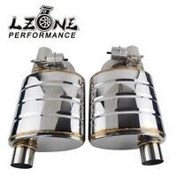 "L+ R Exhaust Mufflers Pipe 2.5"" 63mm Tip Single Exhaust Muffler Valve Cutout"
