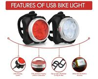 Bike Headlight Rechargeable Bicycle USB LED Head and Tail Cycling Front Rear Set