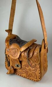 Vintage Tooled Leather Western Horse Saddle Shoulder Bag Purse Cowgirl Rodeo