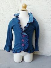 Matilda Jane JULIET CARDIGAN Navy Blue Dot Ruffle Sweater SZ 2 Paint By Numbers