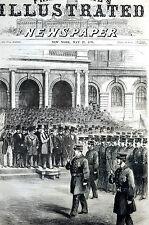Metropolitan Police Policemen NYC MAYOR INSPECTION 1871 Antique Matted Engraving
