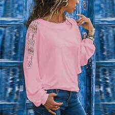 Ladies Women Autun Lace Hollow Long Sleeve Casual T Shirt Tops Blouse SIZE 6-20