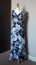 Ladies Moda Long Blue & White Linen Sleevless Dress Large floral Pattern Size 16