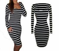 Womens Ladies Party Knee Midi Stretch Long Sleeve Dress Black Bodycon Size UK 10