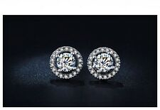 Women's Platinum Plated 0.75 Carat Cubic Zirconia Stud Earrings Jewellery Gift