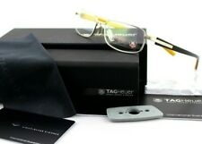 RARE Genuine TAG Heuer Brushed Carbon Racing Yellow EyeGlasses Frame TH 8002 001