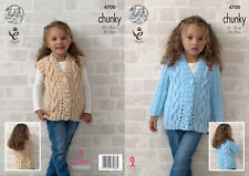 King Cole Girls Chunky Knitting Pattern Cable Knit Lacy Cardigan Waistcoat 4700