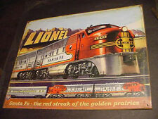 VINTAGE RETRO LIONEL SANTA FE TRAIN SET METAL TIN SIGN Locomotive railroad line