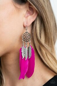 """Paparazzi """"In Your Wildest DREAM-CATCHERS""""- Pink Feathers Earrings"""