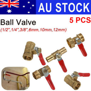 Barb Lever Handle Brass Water/Air Gas Fuel Line Shut-off Ball Valve 5X AU stock