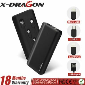500000mAh Portable Power Bank External Battery Backup Charger Built-in 2Cables
