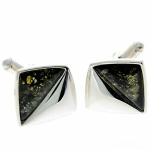 925 Sterling Silver & Baltic Amber Modern Cufflinks - AAC003