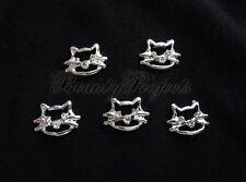 5pcs nail art silver cute 3D kitty cat face rhinestone charms acrylic gel A95